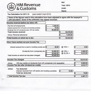 Tax Year Overview and SA302