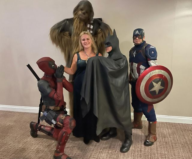 Last night's #shenanigans at @thehenryallentrust #THATGoldandBlackBall   #superheroes the lot of them!  Helping, on a daily basis, families affected by #childhoodcancer  #September #childhoodcancerawarenessmonth #ball #charity #charityball #fundraising #superheroes #chewbacca #captainamerica #batman #dancing #outout